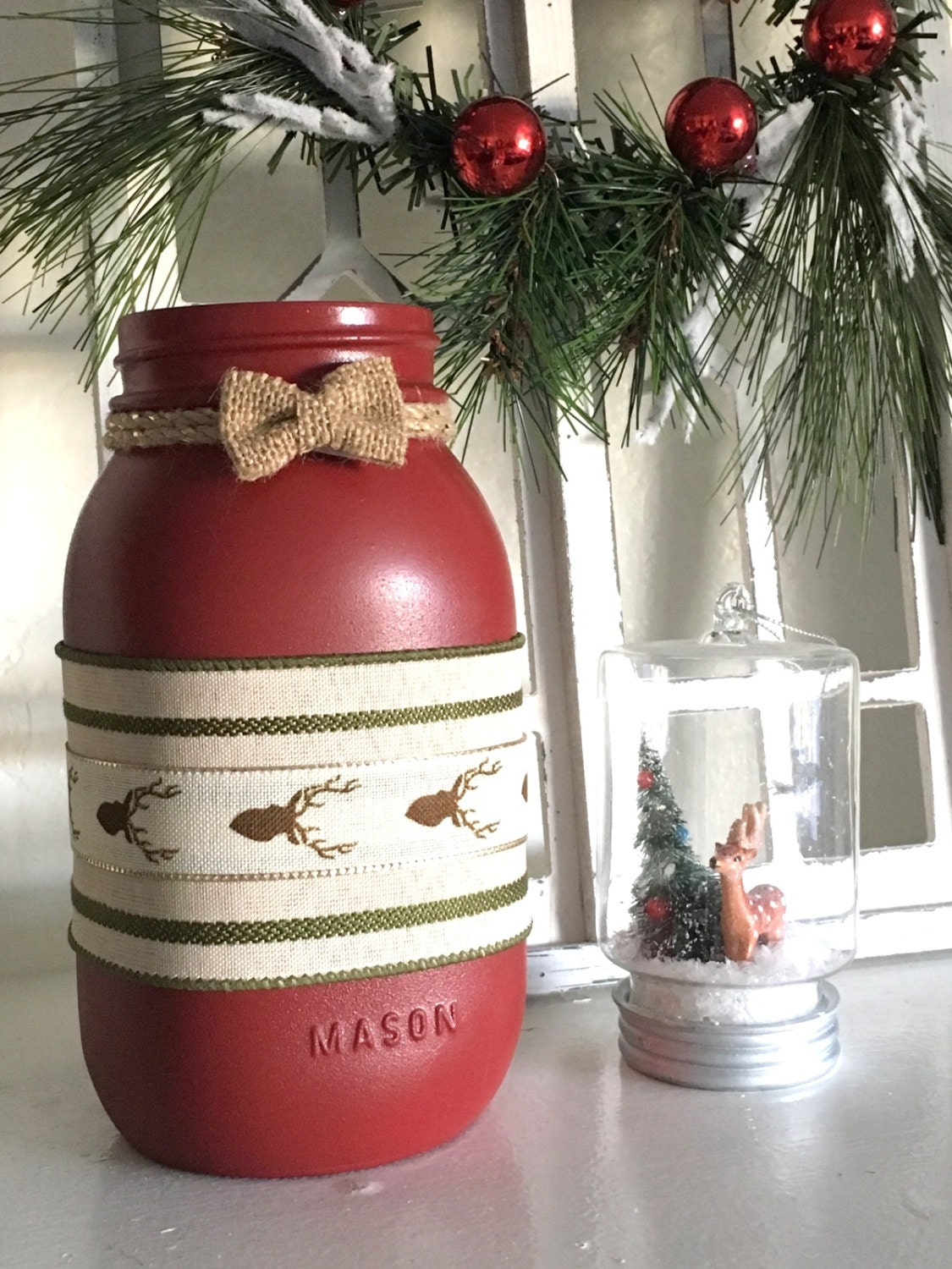 Christmas Centerpiece Ideas With Mason Jars : Christmas mason jar centerpiece decor