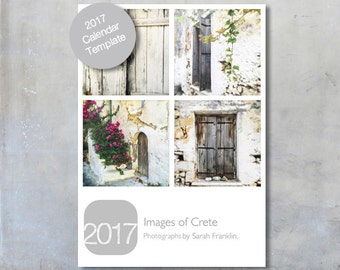 2017 Calendar Template 5x7 plus three cover designs Monday and Sunday week start Instant Download loose sheet Custom Template Photoshop PS