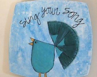 "Hand painted Peacock ""Sing your song"" squared plate"