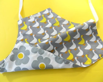 Toddler Apron, Kids Apron, Children's Apron, Girl's Apron, Apron for Kids, Reversible Apron for Kids, Duck, Flower, Yellow and Grey