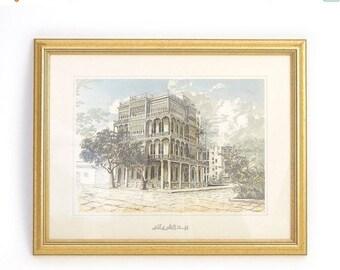 SALE Vintage Framed Saudi Arabian Lithograph - Sharbatly House Jeddah - Al-Balad / Old Jeddah Architecture Art Print Wall Decor - Gold Frame