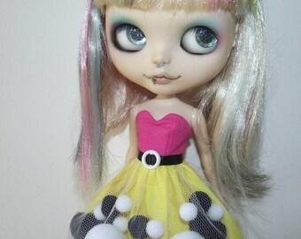 Punk Pop pom-pom dress for Blythe and Pullip