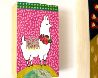 Llama painting Mixed Media collage Small artwork ORIGINAL llama painting by Tascha