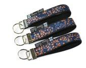 Key Fob Wristlet - Key Chain Wristlet  Fabric - Keyfob - Keychain - READY TO SHIP - Blue Batik Fabric