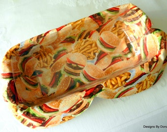 Basket Liner, Table Topper, Bread Cloth, Centerpiece, Hamburgers and A Side Of French Fries, Handmade Table Linens