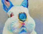 "Original Polish Bunny with Himalayan or Californian points 8""x8"" oil painting NOT a print"