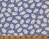 Vintage Cotton Fabric - Mauve/Cornflower Blue w/ Cotton Balls - 1940s
