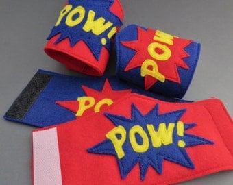 POW Superhero Cuffs - Superhero Wristbands - Superhero Party - Comic Book Accessory - Cosplay