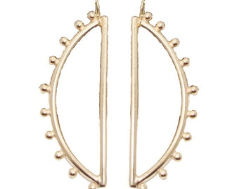 Large Gold Half Moon Sculpted Earring