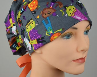 Scrub Hats // Scrub Caps // Scrub Hats for Women // The Hat Cottage // Halloween // Small // Ribbon Ties // Monsters