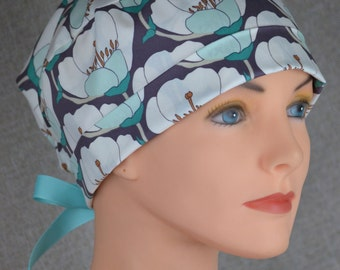 Surgical Scrub Hat or Chemo Cap- The Mini with Ribbon Ties- Nesting Blooms