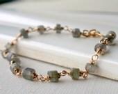 Valentine's Sale. Labradorite Link Bracelet