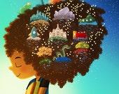 "Book Lover Art, Boy Reading, Black Boy, Reading Illustration, Library Art Print - ""Book Dream Boy"""