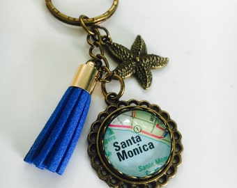 Keyring with Tassel - Custom Map Keychain - Blue Tassel - Keychain for travel lover - starfish charm