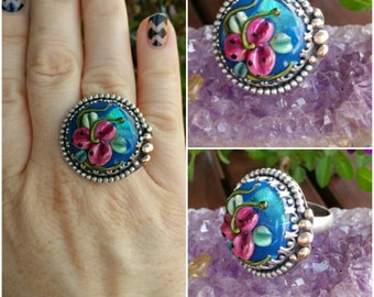 HUGE SALE! Less than HALF Price! Electric Blue Tiger Lily Floral Flower & Sterling Glass Ring