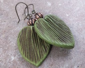 Green Leaf Earrings, Green Fan Earrings, Polymer Clay Earrings