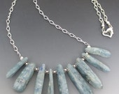 Smooth Kyanite Sticks Sterling Silver Necklace