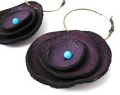 Deep Purple Curled Flower Leather Hoop Earrings with Turquoise Bead Centers, Women, Teen Girl, Eco Friendly, Recycled, Unique, OOAK