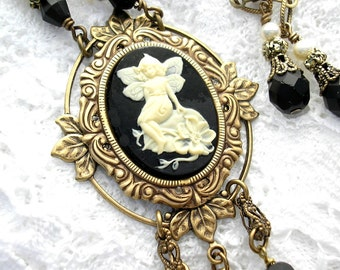 Black and Ivory Fairy Cameo Necklace and Earring Set Victorian Style Cameo Necklace