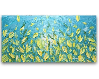 Tulips Landscape Oil Painting  Impasto Blue Yellow Floral Original LargeAbstract Modern Wall Art Palette Knife Painting -Susanna