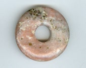 40mm Pink Jasper with Cream Dots and Black Donut Pendant 942