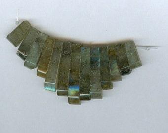 Blue Flash Labradorite Mini Cleopatra Collar Fan 13pc Bead Set C Quality