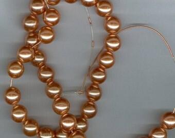 CLEARANCE 12mm Peach Orange Pearl Round Beads