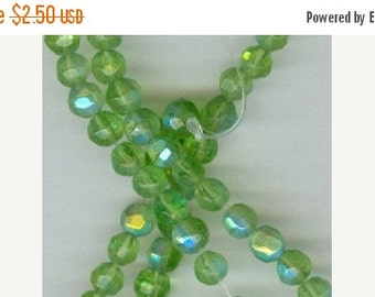 CLEARANCE 4mm Grass Green AB Faceted Glass Round Beads