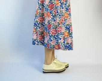 platform OXFORD beige HARAJUKU shoes / wingtip gangster shoes/  size 7