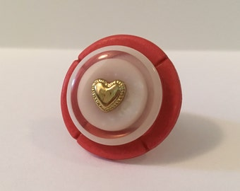 I Heart Pink - Stacked Button Ring