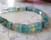 Roman Glass Bracelet, Ancient Glass, Sterling Silver, Genuine Roman Glass, Beach Style, Boho Style, Aqua Glass, candies64