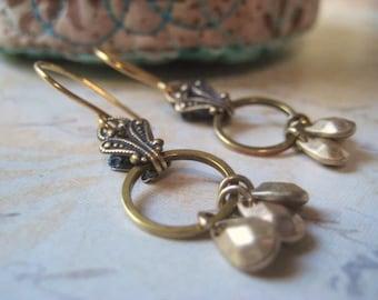 Golden Earrings, Pure Brass, Tear Drop Charms, Dangles Earrings, Fancy Filigree, 14k Gold Filled, Filigree Detail, candies64