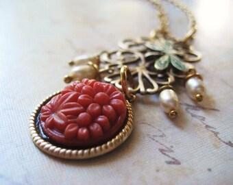 Flower Necklace, Verdigris Dragonfly, Filigree Brass, Freshwater Pearls, Vintage Flower, Bittersweet Cabochon