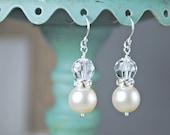 Swarovski Crystal and Pearl Drop Earrings, Bridal Earrings, Wedding Earrings, Ivory Pearls, Swarovski Rondelles, Elegant Wedding Jewelry