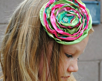 Pink and Green Satin Hair Flower Clip, Easter, Hair Accessories, Layered, Green Lace, Rhinestone, Dance, Costume, School Pictures, Children