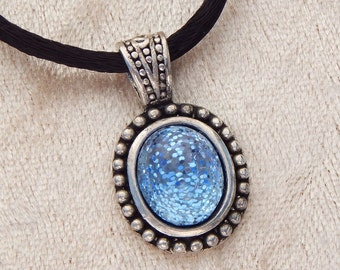Blue Sky- Czech Glass and Glitter Pendant (N-146)