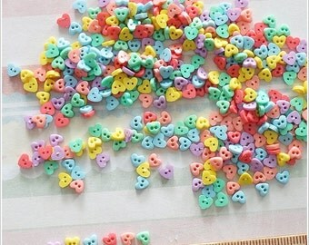 100 pcs Tiny heart shape 4 mm Flat Buttons Mixed Color For Blythe / Doll / Scrapbooking Supply