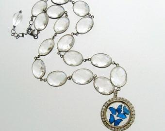 Butterfly Kaleidoscope Victorian Silver Paste Locket Rock Crystal Necklace - Kaleidoscope de Papillon III Necklace