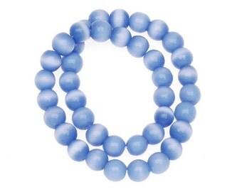 Round Lt. BLUE CATS EYE  beads (92) 8mm 12 inch strand