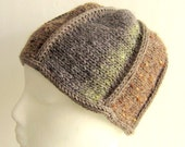 Wool Beanie Cloche Hand Knit Unisex Hat - Neutrals Tans Sage Tweed Hat