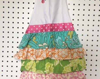 whimsical ruffle aprons-apron-kids apron-birthday gift- ruffle apron-vintage apron- baking apron- girls apron-party favor-girls birthday