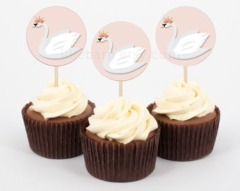 Party Cupcake Toppers - Swan Princess