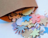 100 Paper Flower Die Cuts Various 1 Inch Flower Paper Punches Pastel Colors
