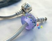 Lampwork European Charm Bead Lavender Batik Blossom