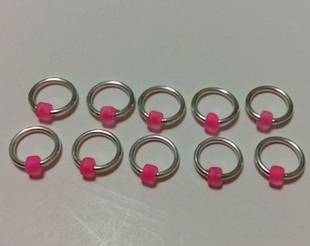Neon Pink -  Ring Stitch Markers (Snag-free)