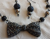 Fancy Black Bow Tie Necklace And Earing Set.