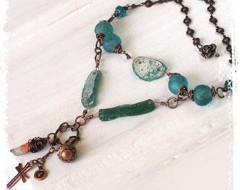 Ancient Roman glass necklace, Rustic bohemian pendant necklace, Talisman amulet protection necklace, Blue glass necklace
