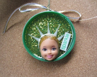 SPARKLE -  upcycled doll ornament