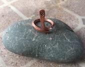 Adjustable Ring Half-finger Heart Stamped Copper