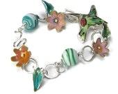 Hummingbird Art Bracelet with Flower and Leaves, Hummingbird Bracelet, Enamel Bracelet, Hummingbird Jewelry, Modern Charm Bracelet
